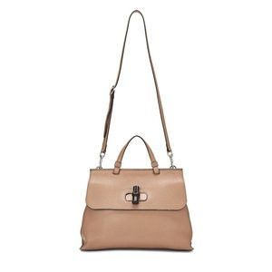 Gucci Medium Camelia Bamboo Daily Top Handle Beige